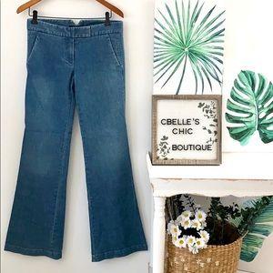 Theory Flare Leg Flat Front Retro Style Jeans Sz 4